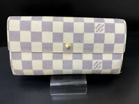 Auth Louis Vuitton Damier Azur Portefeuille Sarah N61735 Long Wallet 20000162808