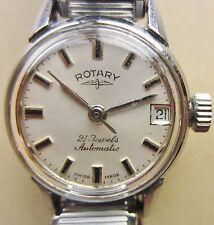 Donna Orologio Rotary 1960s SS automatico ETA 2551 Data Bracciale lavorando bene