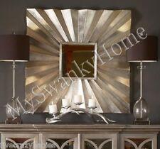 "Art Deco 41"" SUNBURST SQUARE Wall Mirror SILVER METAL Contemporary Modern"