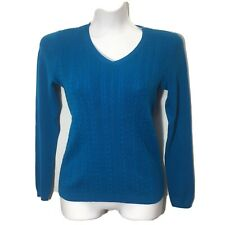 Talbots Size Petite Small Teal Cable Knit Sweater