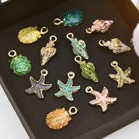13Pcs Enamel Conch Sea Shell Pendant Charms DIY Jewelry Making Handmade Findings