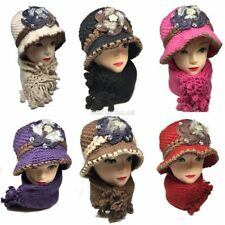 Women Girls Knitted Faux Fur Crystal Woolen Cloche Hat and Scarf Set Warm Winter
