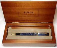 Parker Blue Marble International Duofold New in Presentation Box Pen Heat Sealed