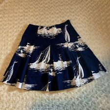 Talbots Navy Blue White Sailboat Nautical Print A-Line Skirt Women's Size 6