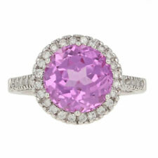 NEW 5.67ctw Round Cut Synthetic Pink Sapphire & Diamond Ring 14k White Gold Halo