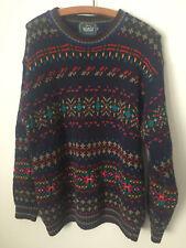 "Vintage Woolrich Handframed Sweater #9807 Navy Blue Colorful M - 40"" Hong Kong"