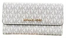 NEW MICHAEL KORS JET SET TRAVEL VANILLA WHITE ACORN+BROWN PVC TRI-FOLD WALLET