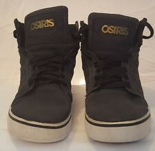Osiris Distressed Charcoal Grey and Gold High Tops, size 6
