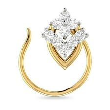 Zirconia Nose Pin Ring Everyday Use Beautiful 14K Yellow Gold Over Cubic