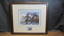 1990 Ducks Unlimited Framed Ken Bucklew Print/Stamp Numbered 21/130 & Signed