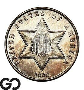 1860 Three Cent Silver, Sharp Choice BU++