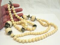VINTAGE NECKLACE CREAM BEAD AND SILVER BEAD 32 INCHES LONG