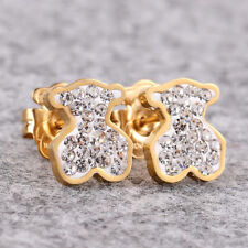 Cute Bear Earrings Crystal 14k Gold Woman Charm Jewelry Gift