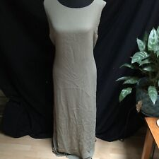 Chico's 3 XL Maxi Dress Tie Waist Taupe Military Green Lined Long Sleeveless NEW