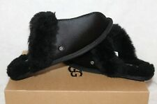 UGG SCUFFETTE II SATIN BLACK SHEARLING LINED SLIPPERS US 8