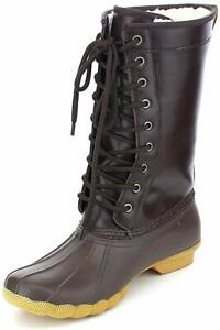 New Women Refresh Hunter-03 Two Tone Mix Media Shearling Lace Up Duck Boot Size