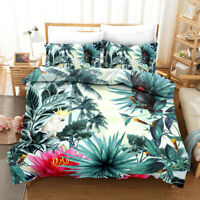 3D Watercolor Lotus Leaves Quilt Cover Set Pillowcases Duvet Cover 3pcs Bedding