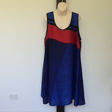 'AUTOGRAPH' EC SIZE '18' BLUE, RED & BLACK SILY SLEEVELESS LINED DRESS