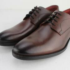 Base London IVY Mens Burnished Leather Smart Derby Shoes Rosewood Wine Burgundy