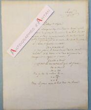 Document XIXè manuscrit signé LAVIGNE Problème Algèbre Mathématiques autographe