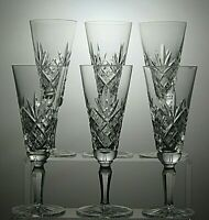 """CUT GLASS LEAD CRYSTAL CHAMPAGNE FLUTES SET OF 6 - 7"""" TALL"""