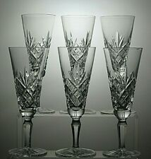 "CUT GLASS LEAD CRYSTAL CHAMPAGNE FLUTES SET OF 6 - 7"" TALL"