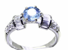 1.05ct Ceylan saphir et diamant Bague 18K or blanc