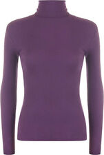 WOMEN LADIES RIBBED POLO NECK TOP JUMPER TURTLE ROLL NECK FULL SLEEVE PLAIN TOP