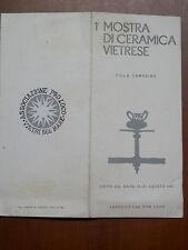 vecchio depliant invito PRIMA MOSTRA DI CERAMICA VIETRESE Villa Carosino Vietri