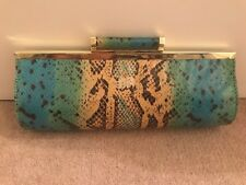 *NINE WEST* £65 YELLOW GREEN BLUE BLACK FAUX SNAKESKIN CLUTCH HANDBAG GOLD