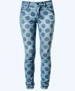 House Of Holland Mid Rise Skinny Jeans With Polka Dots Size 24