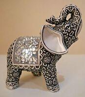 Decorative Mirror Silver Glitter Mosaic Mirror Indian Buddha Elephant Ornament