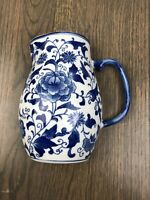 Blue And White Chinoiserie Pitcher Wall Sconce Planter Decor Vase