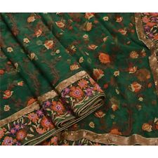 Sanskriti Vintage Hand Beaded Heavy Saree Net Fabric Sari Sequins Green Floral