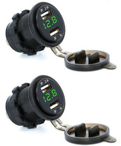 2X LED Voltmeter & Dual USB Charger Chassis Mount Panel Hole Socket Adapter 2pcs