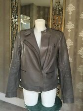 VINCE TAUPE GREY LEATHER BIKER ZIP JACKET SIZE M $995