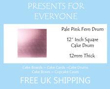 "5 x 12"" Inch Square Pale Pink Wedding Birthday Cake Drum / Board 12mm"