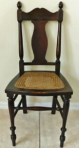 Antique/Vtg Solid Mahogany Wood High Back Cane Seat Dining Accent Side Chair