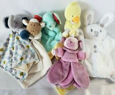 Lot x6 Baby Lovey Security Blanket Gund Fisher Price Elephant Puppy Bunny Duck