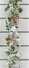 Snowy Artificial Holly Garland With Berry Christmas Decoration 180cm Design