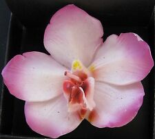 NEW SET OF 2 LARGE PINK+WHITE DAFFODIL FLOWER FLOATING CANDLE+BOX 76267