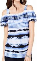 INC Women's Top Blue Size Large L Knit Cold Shoulder Ombre Stripe $54 #399