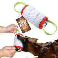 Jute Cylinder K9 Schutzhund Dog Bite Tug Dog Training Chew Toys with Two Handle