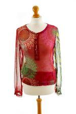 Boho DESIGUAL Chiffon Top Bluse rot bunt Muster Hippie transparent 38 M