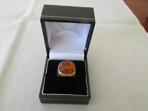 14ct Yellow Gold Amber Ring suit male or female with valuation $1,700