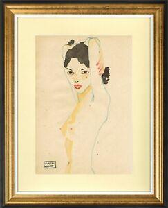 GUSTAV KLIMT - GREAT ART !!! OLD WATERCOLOR !!!