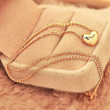 Womens Elegant Gold Plated Heart Bib Statement Chain Pendant Necklace Gift