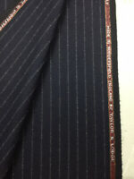 Taylor & Lodge Navy Stripe Wool Lumbs Golden Bale Flannel Suit Fabric. (390g)