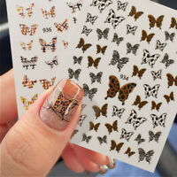 Colorful Butterfly Leopard 3D Nail Stickers Nail Art Decals Tips DIY Decorations