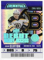 2019-20 CREDENTIALS CONNOR CLIFTON DEBUT TICKET ACCESS RC #123 BRUINS 206/699